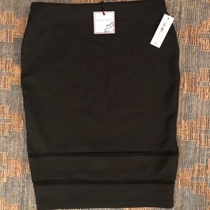 Black pencil skirt with see through ribbed trim